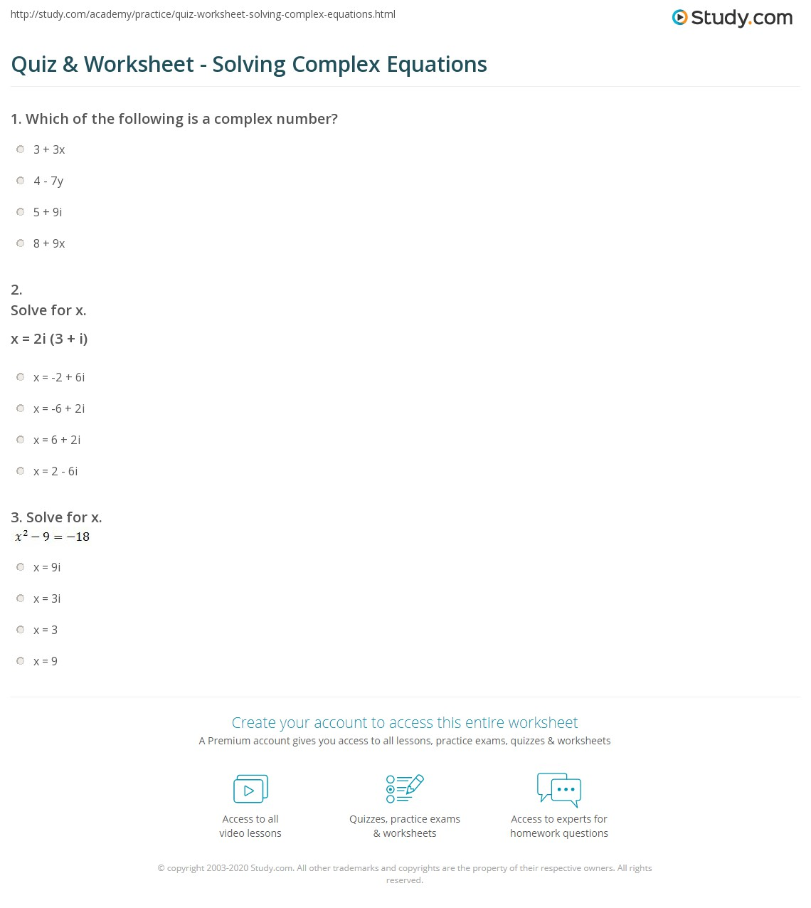 quiz worksheet solving complex equations. Black Bedroom Furniture Sets. Home Design Ideas
