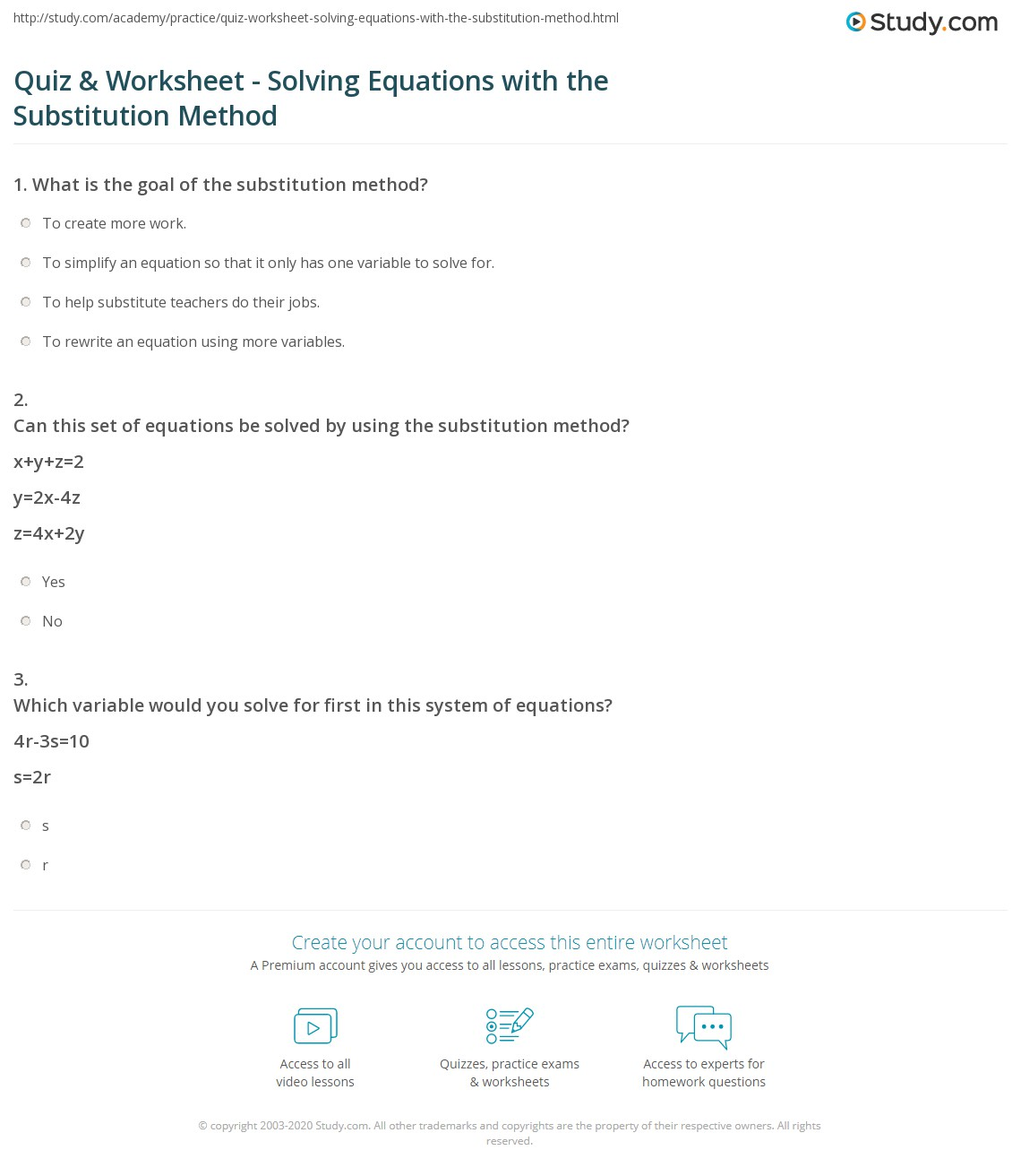 Quiz Worksheet Solving Equations with the Substitution Method – Substitution Method Worksheet