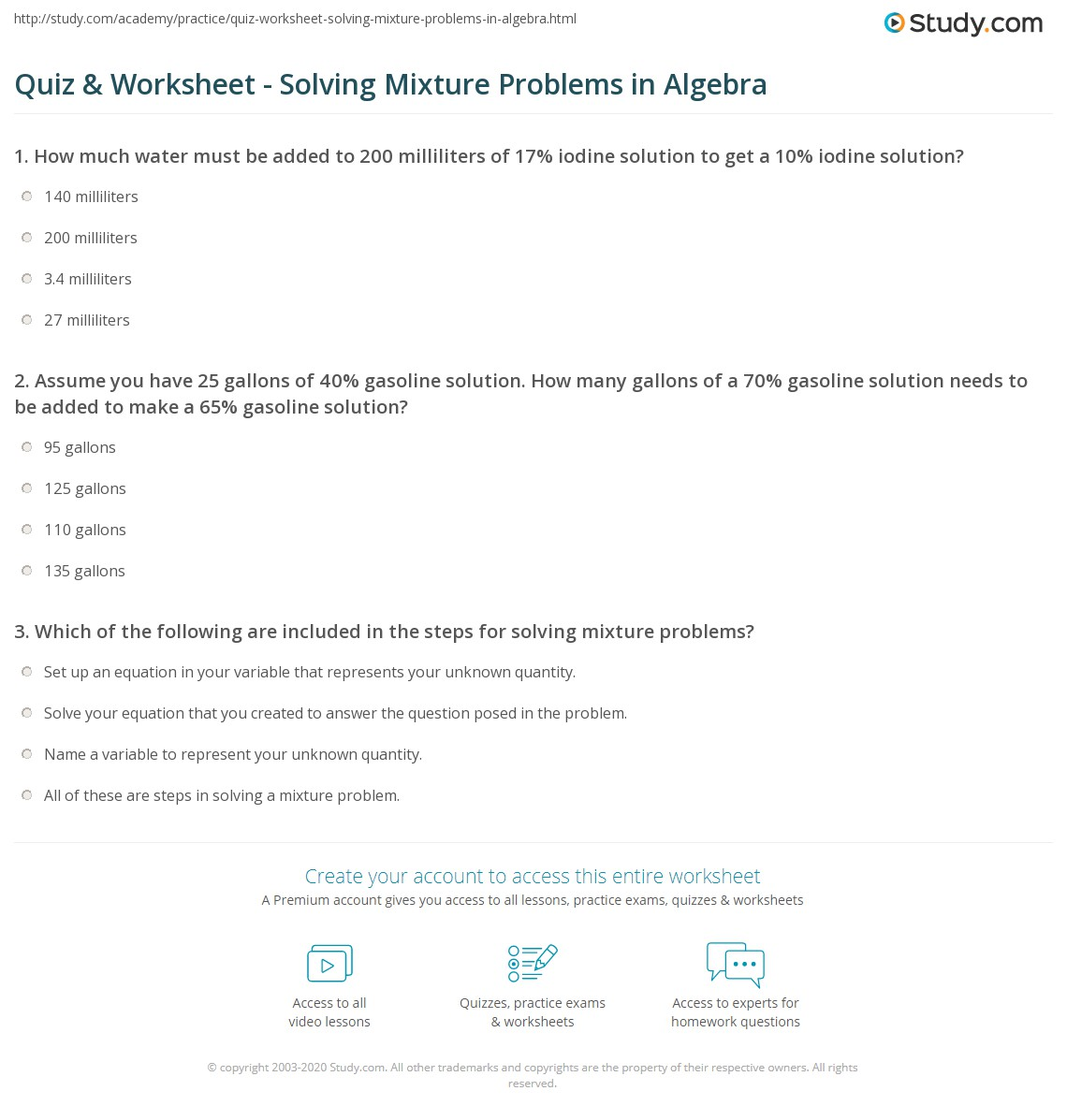 Quiz Worksheet Solving Mixture Problems in Algebra – Problem and Solution Worksheets
