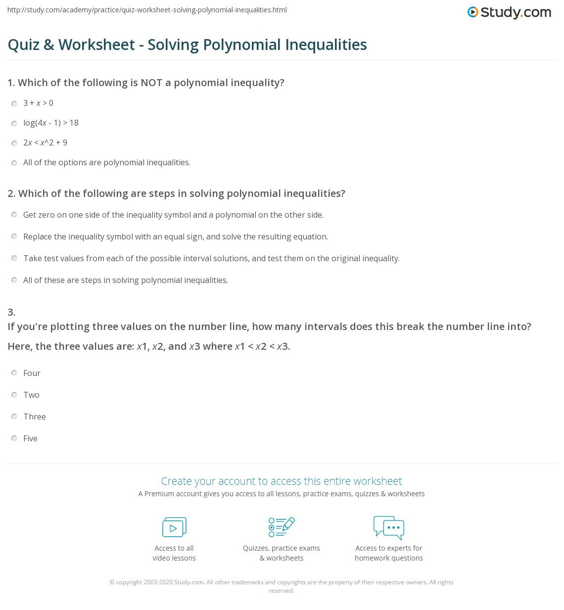 Quiz Worksheet Solving Polynomial Inequalities – Polynomial Inequalities Worksheet