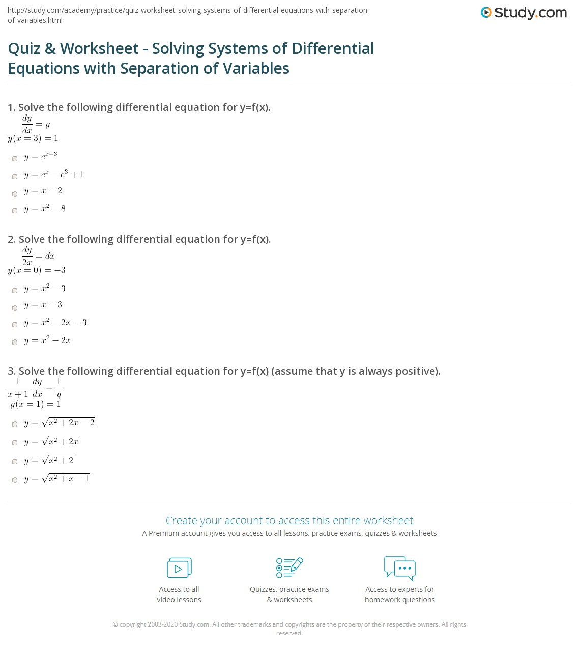 Quiz Worksheet Solving Systems of Differential Equations with – Solving Systems of Equations Worksheet
