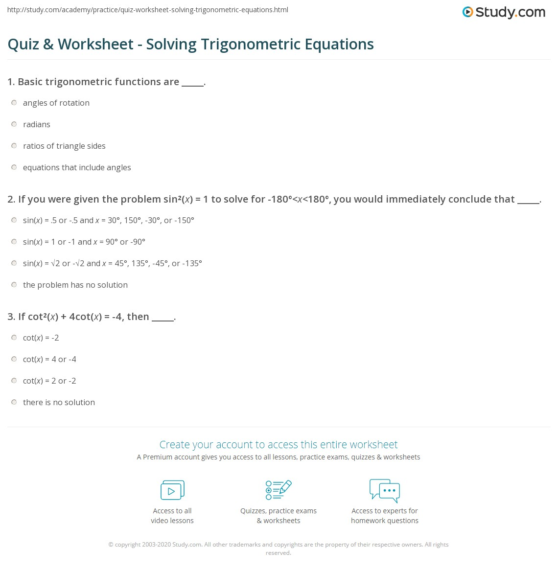 quiz worksheet solving trigonometric equations. Black Bedroom Furniture Sets. Home Design Ideas