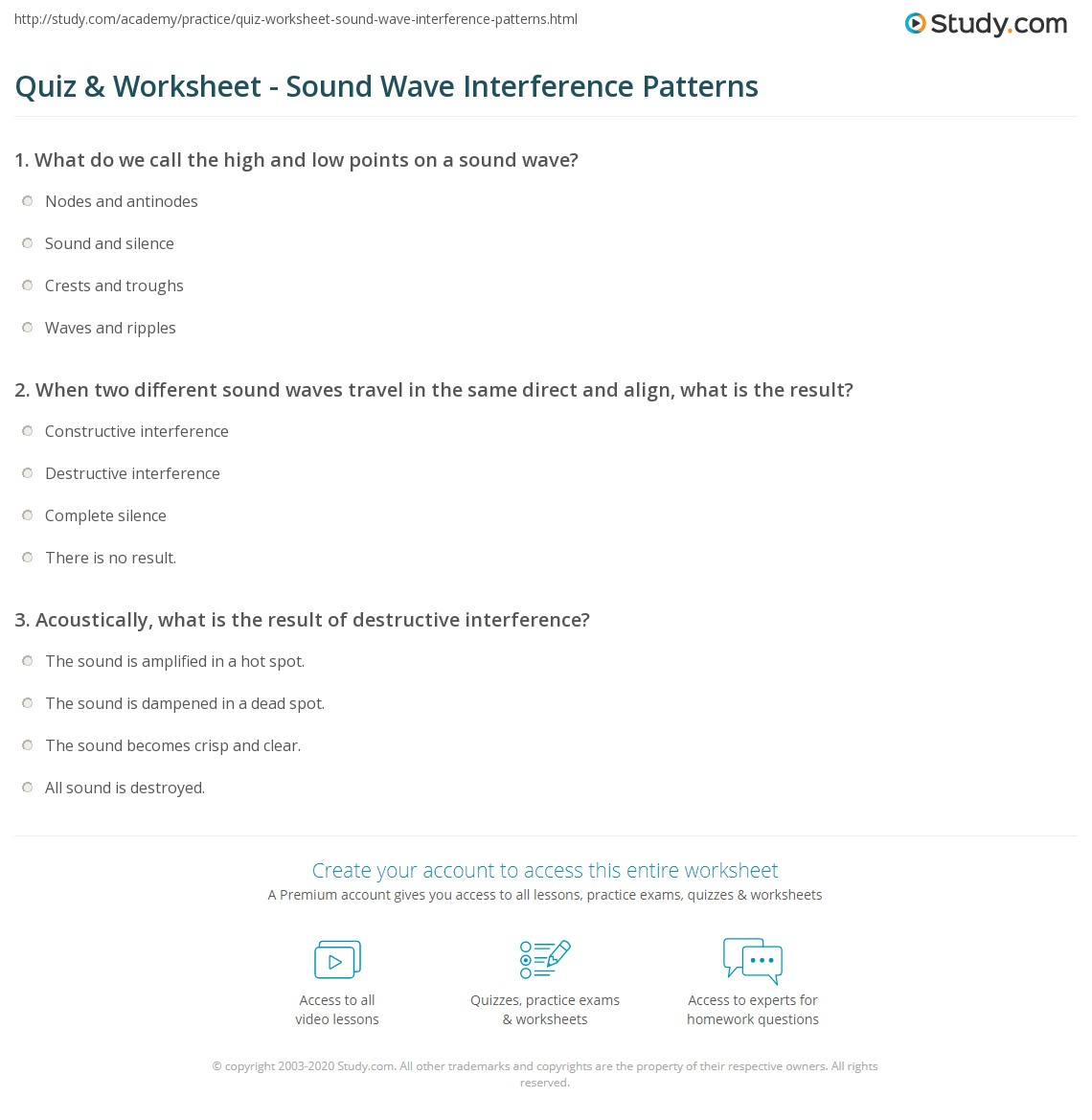 ... Patterns Of Sound Waves Worksheet High School Physics Worksheets