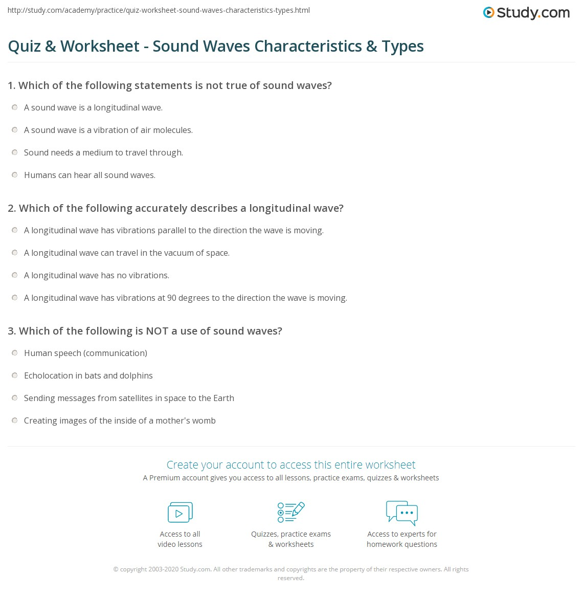 Quiz Worksheet Sound Waves Characteristics Types – Wave Properties Worksheet