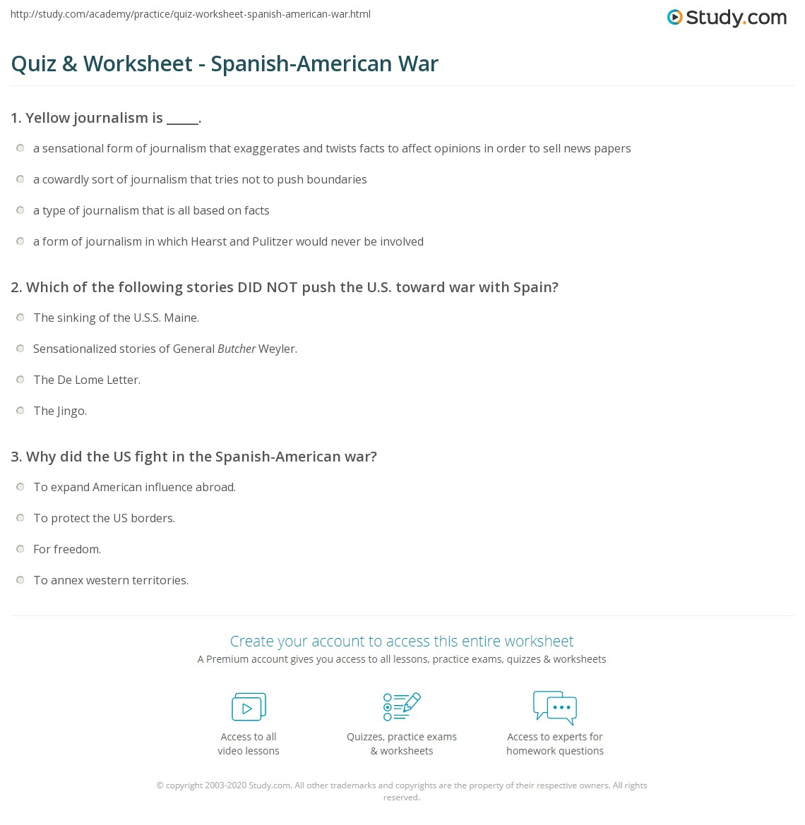 Quiz Worksheet SpanishAmerican War – Spanish American War Worksheet