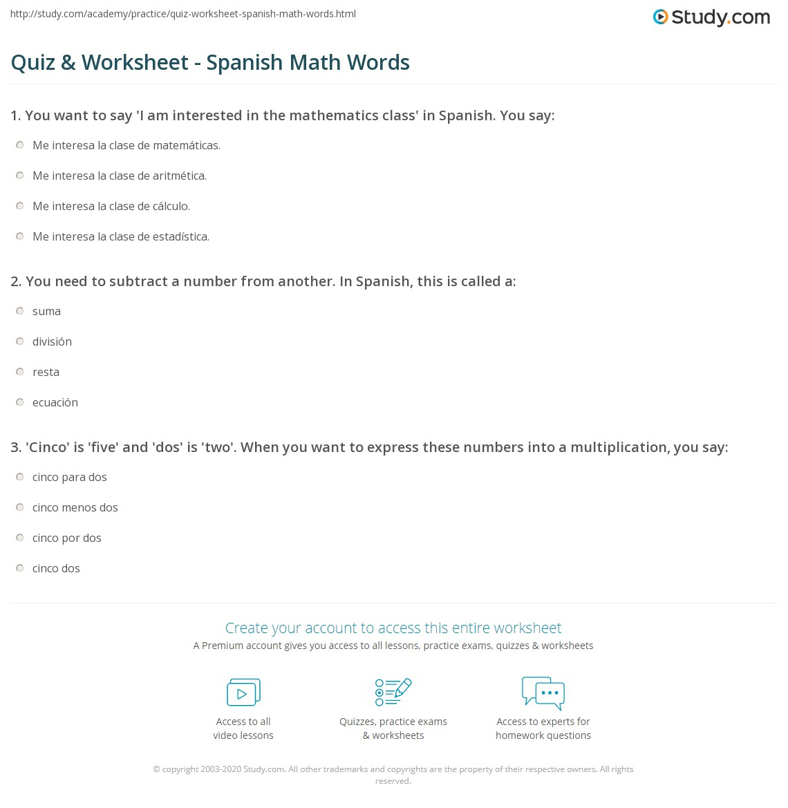 Free Worksheet Math Vocabulary Worksheets quiz worksheet spanish math words study com print terms in worksheet