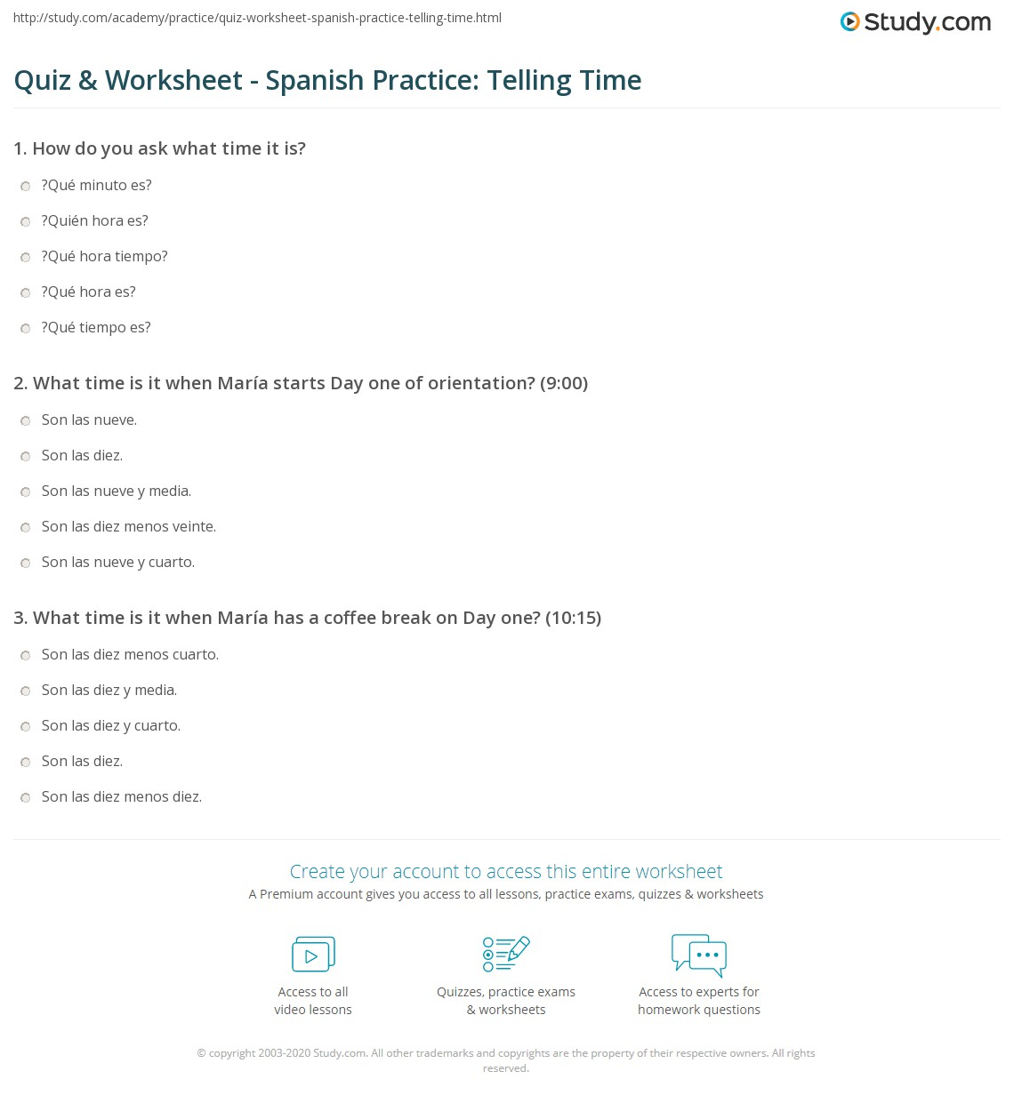 Quiz & Worksheet - Spanish Practice: Telling Time | Study.com