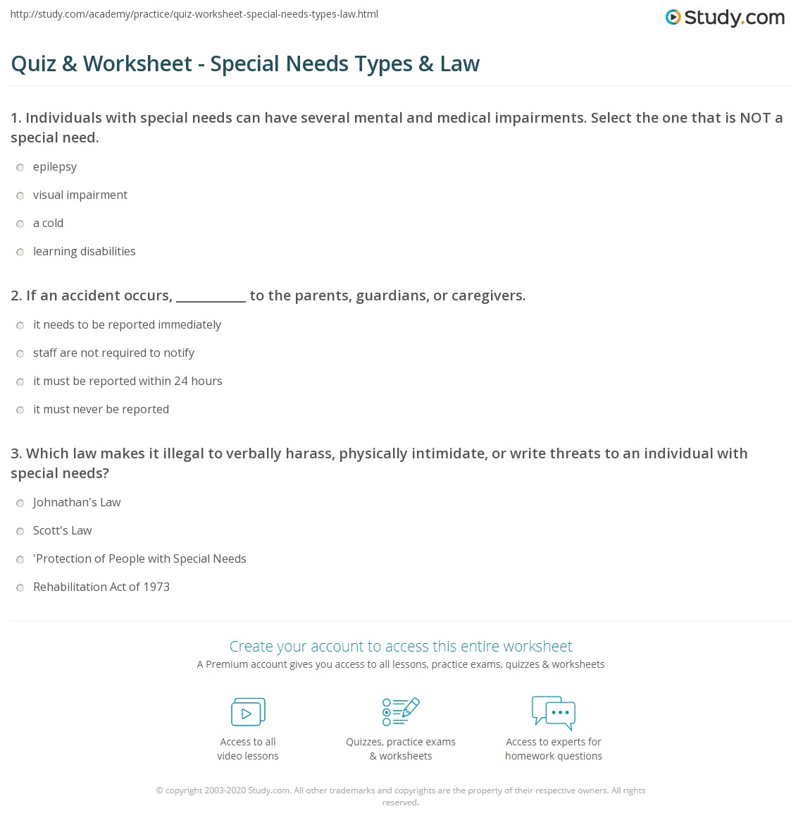 Worksheets Special Needs Worksheets quiz worksheet special needs types law study com print what is definition worksheet