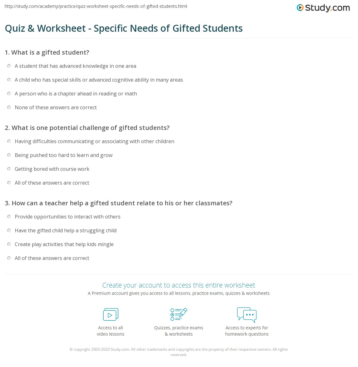 Worksheet Gifted And Talented Worksheets quiz worksheet specific needs of gifted students study com print the different in classroom worksheet