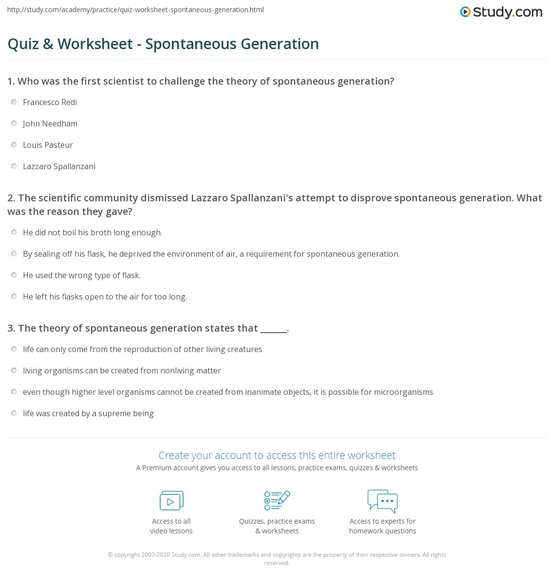 Aldiablosus  Remarkable Quiz Amp Worksheet  Spontaneous Generation  Studycom With Marvelous Print Spontaneous Generation Definition Theory Amp Examples Worksheet With Amazing Space Worksheets Also Base  Blocks Worksheets In Addition Color Word Worksheets And Free Telling Time Worksheets As Well As Learning Colors Worksheets Additionally Ocean Worksheets From Studycom With Aldiablosus  Marvelous Quiz Amp Worksheet  Spontaneous Generation  Studycom With Amazing Print Spontaneous Generation Definition Theory Amp Examples Worksheet And Remarkable Space Worksheets Also Base  Blocks Worksheets In Addition Color Word Worksheets From Studycom
