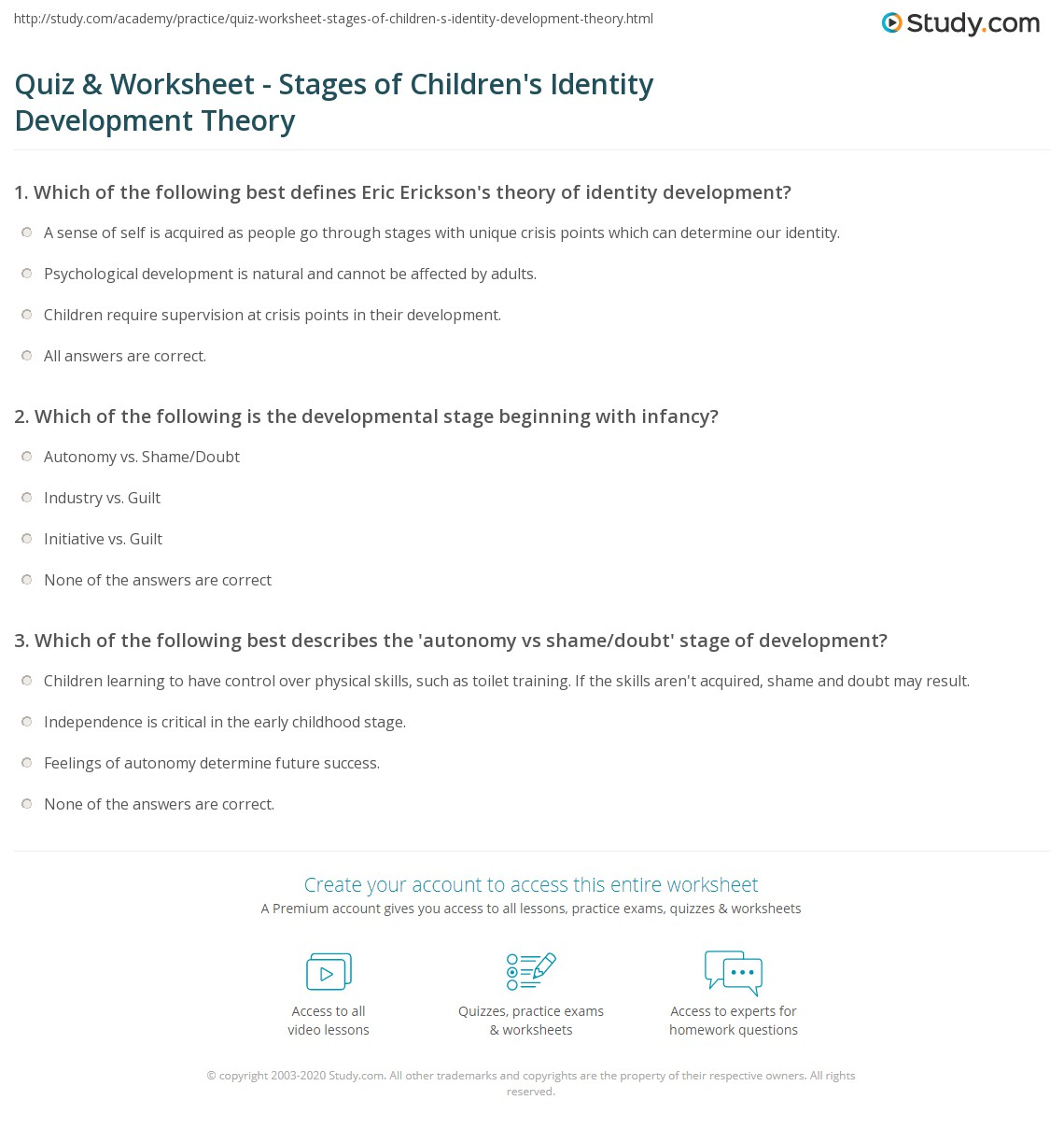 Uncategorized Shame And Guilt Worksheets quiz worksheet stages of childrens identity development print theory model worksheet