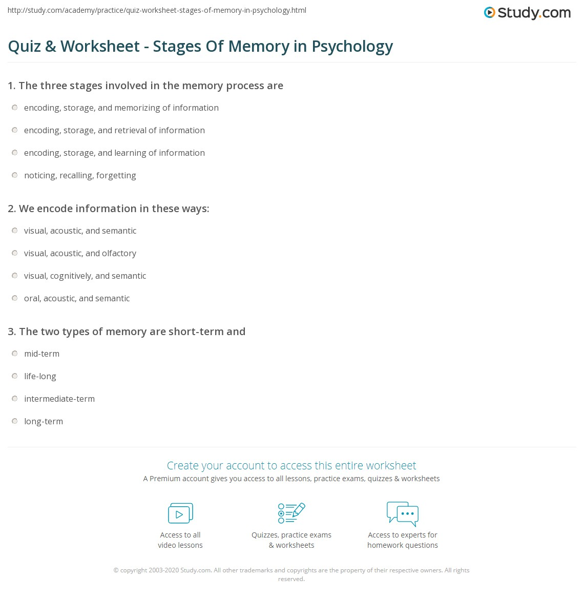 Printables Psychology Worksheets quiz worksheet stages of memory in psychology study com print three explanation summary worksheet