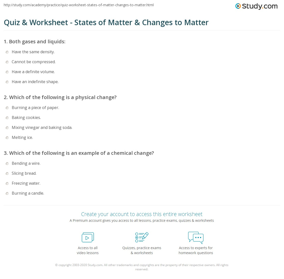 Quiz Worksheet States of Matter Changes to Matter – Six Types of Chemical Reaction Worksheet Answers
