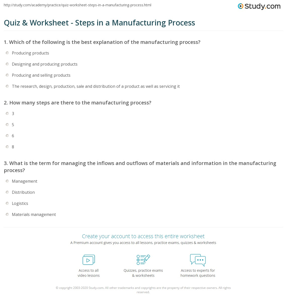 quiz worksheet steps in a manufacturing process. Black Bedroom Furniture Sets. Home Design Ideas