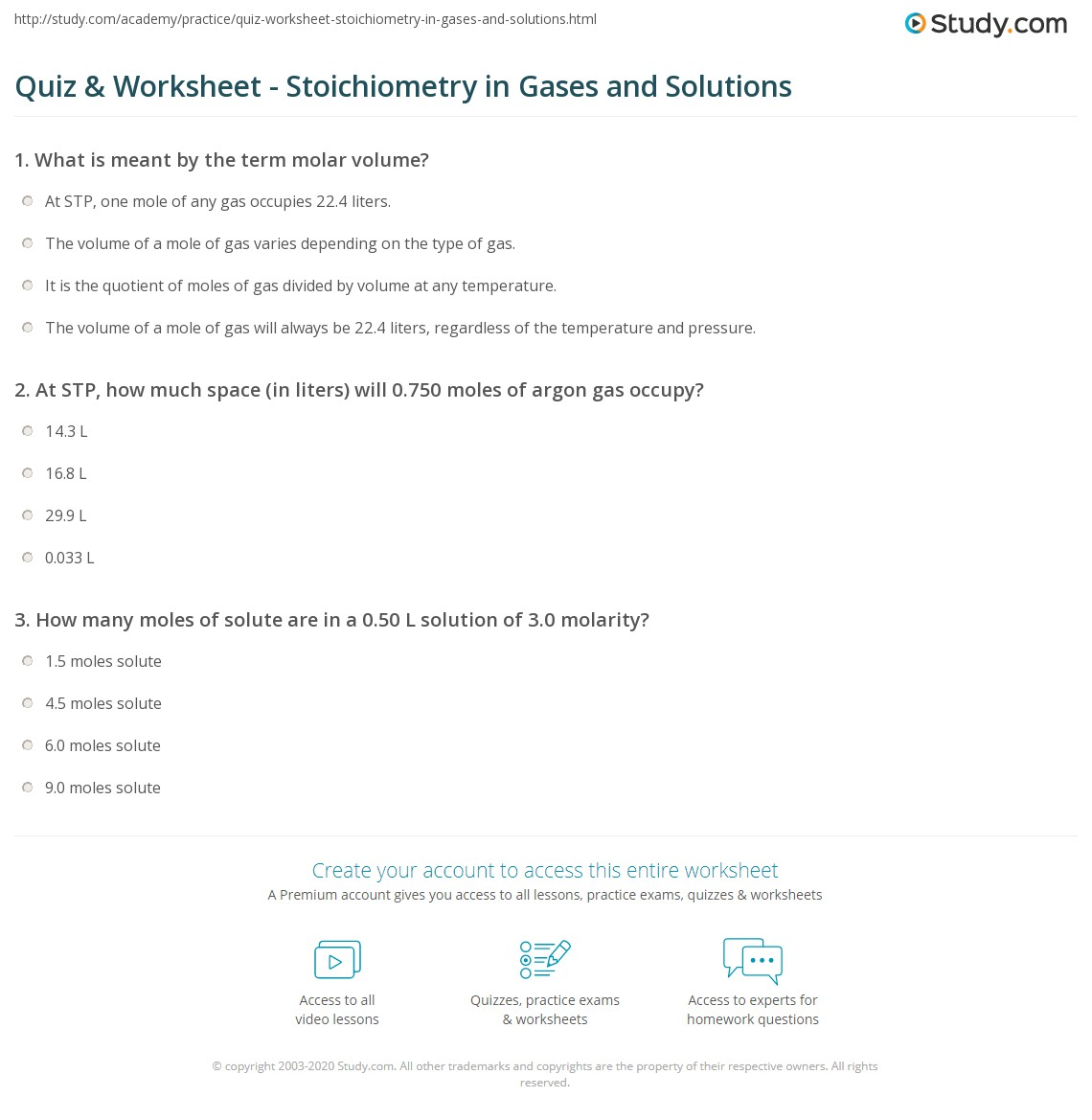 Quiz & Worksheet - Stoichiometry in Gases and Solutions | Study.com
