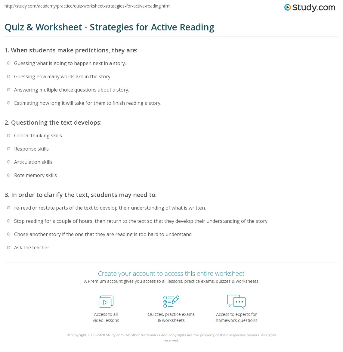 Quiz Worksheet Strategies for Active Reading – Active Reading Worksheets