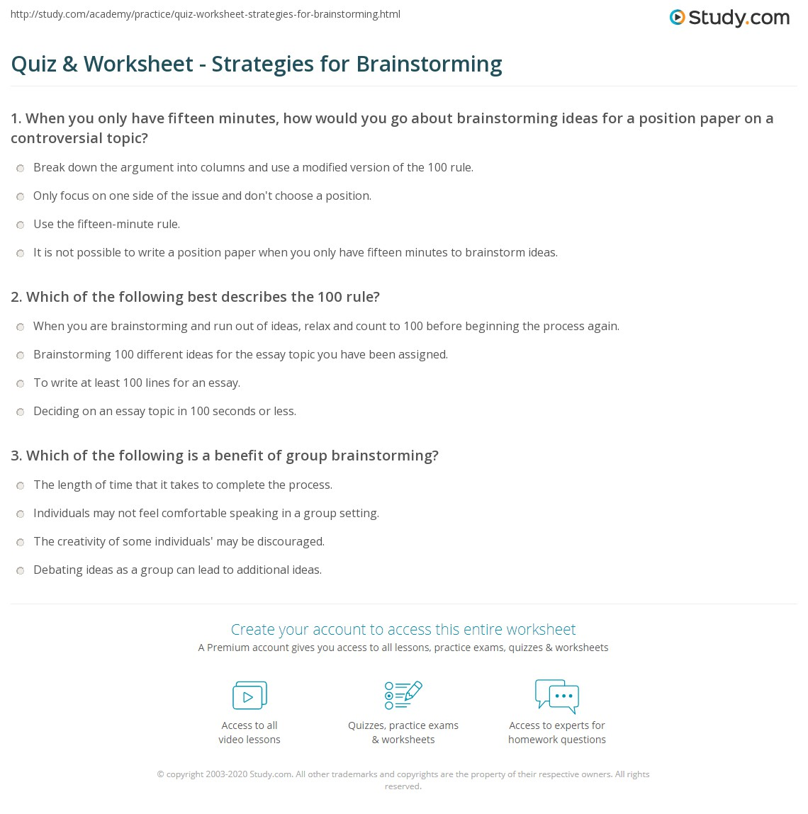 Quiz Worksheet Strategies for Brainstorming – Brainstorm Worksheet