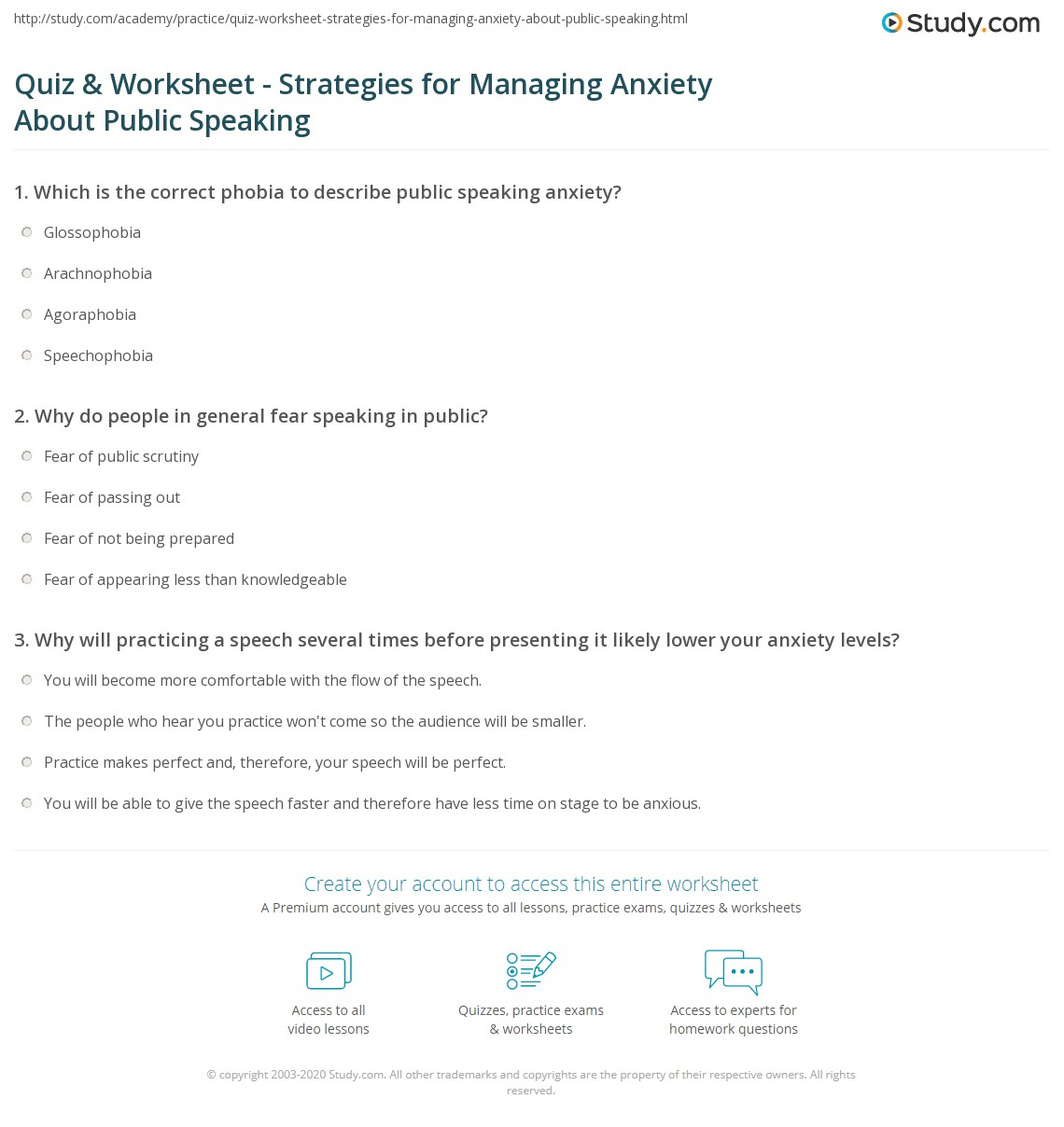 Quiz Worksheet Strategies for Managing Anxiety About Public – Anxiety Worksheets