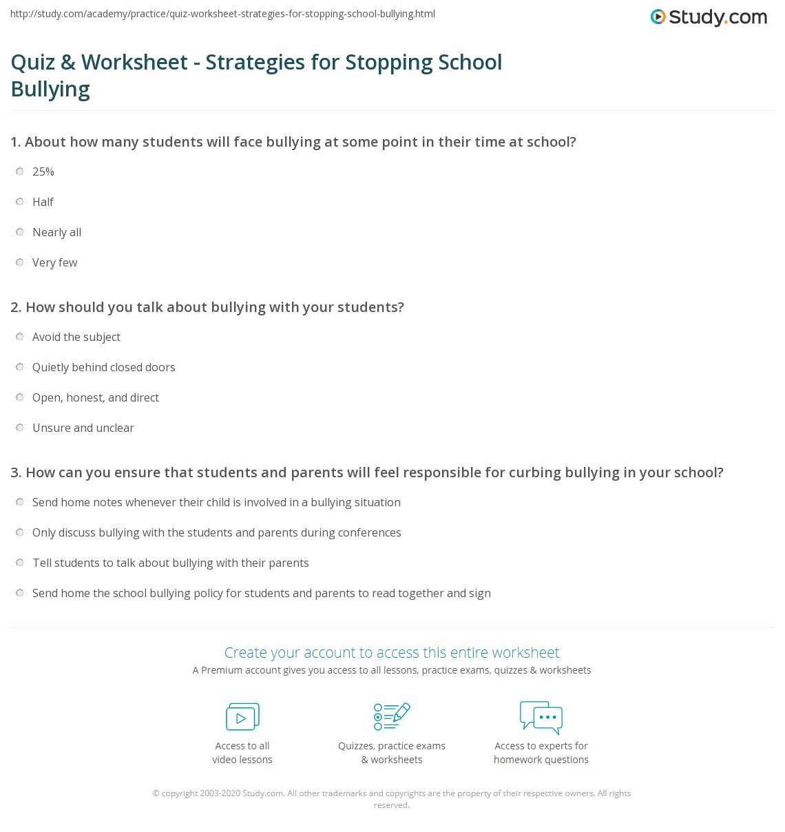 Worksheet Bullying Worksheets For Middle School quiz worksheet strategies for stopping school bullying study com print how to stop in worksheet