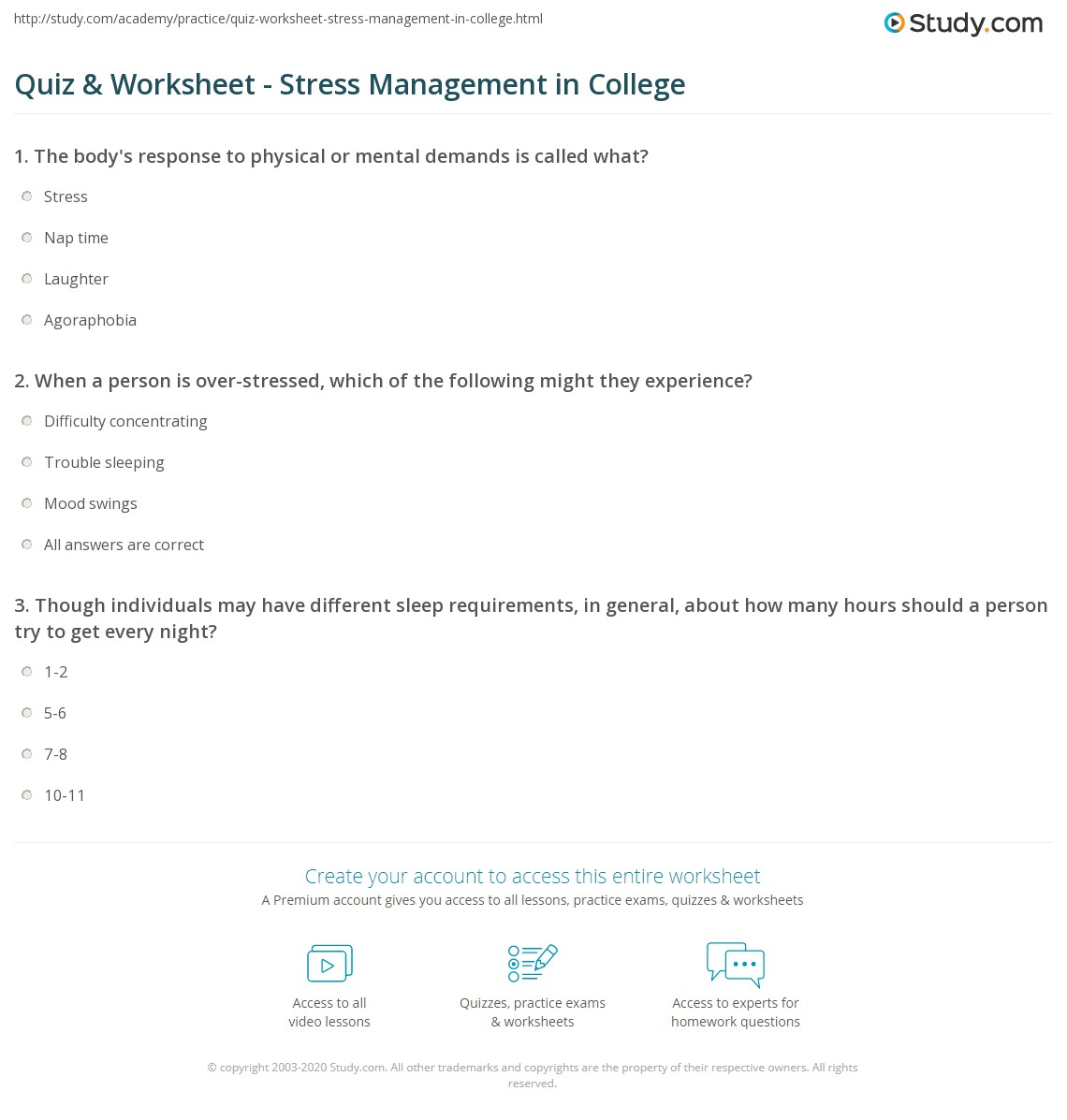 Quiz Worksheet Stress Management in College – College Worksheets
