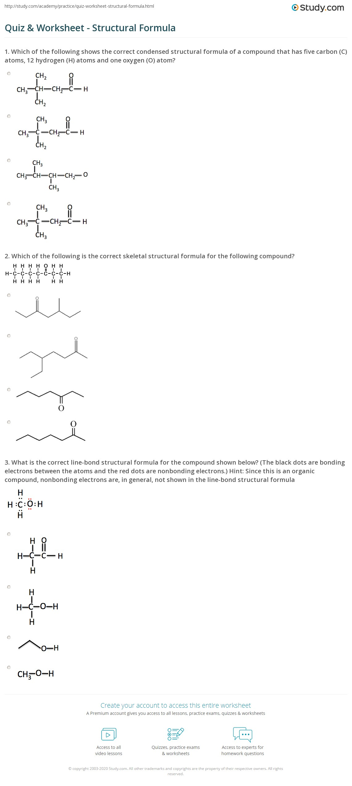 Quiz Worksheet Structural Formula – Formula Worksheet