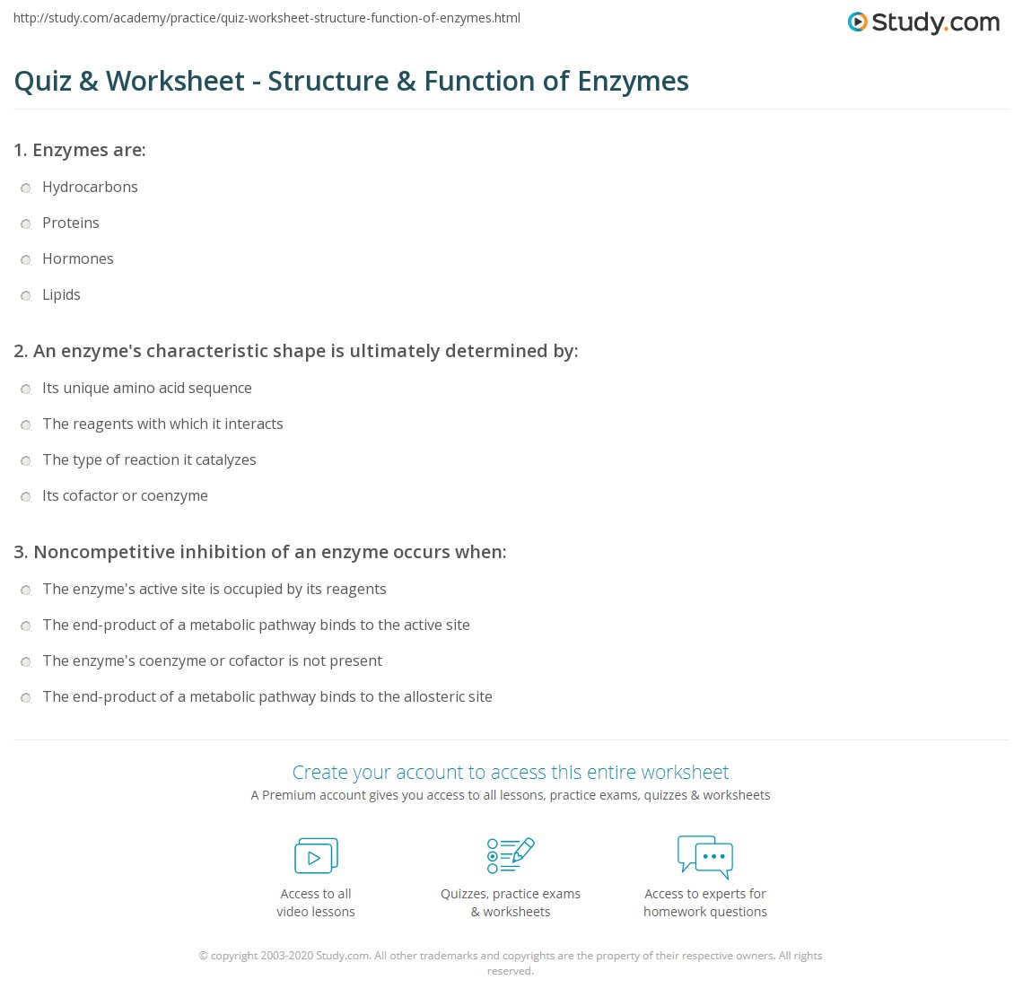 Quiz Worksheet Structure Function of Enzymes – Biochemistry Worksheet Answers