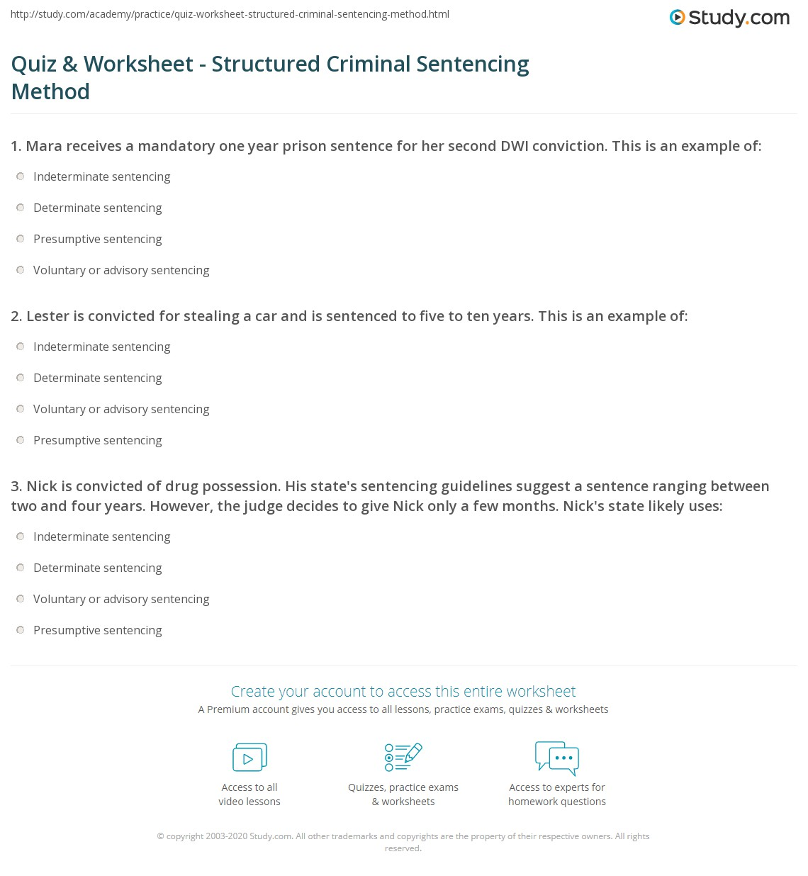 Worksheets Federal Sentencing Guidelines Worksheet quiz worksheet structured criminal sentencing method study com print definition types models worksheet