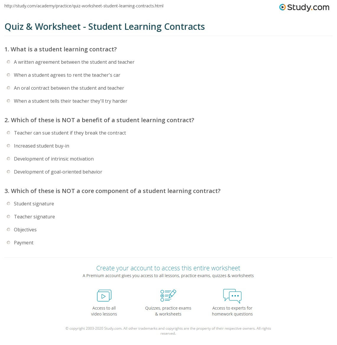 Quiz Worksheet Student Learning Contracts – Student Agreement Contract
