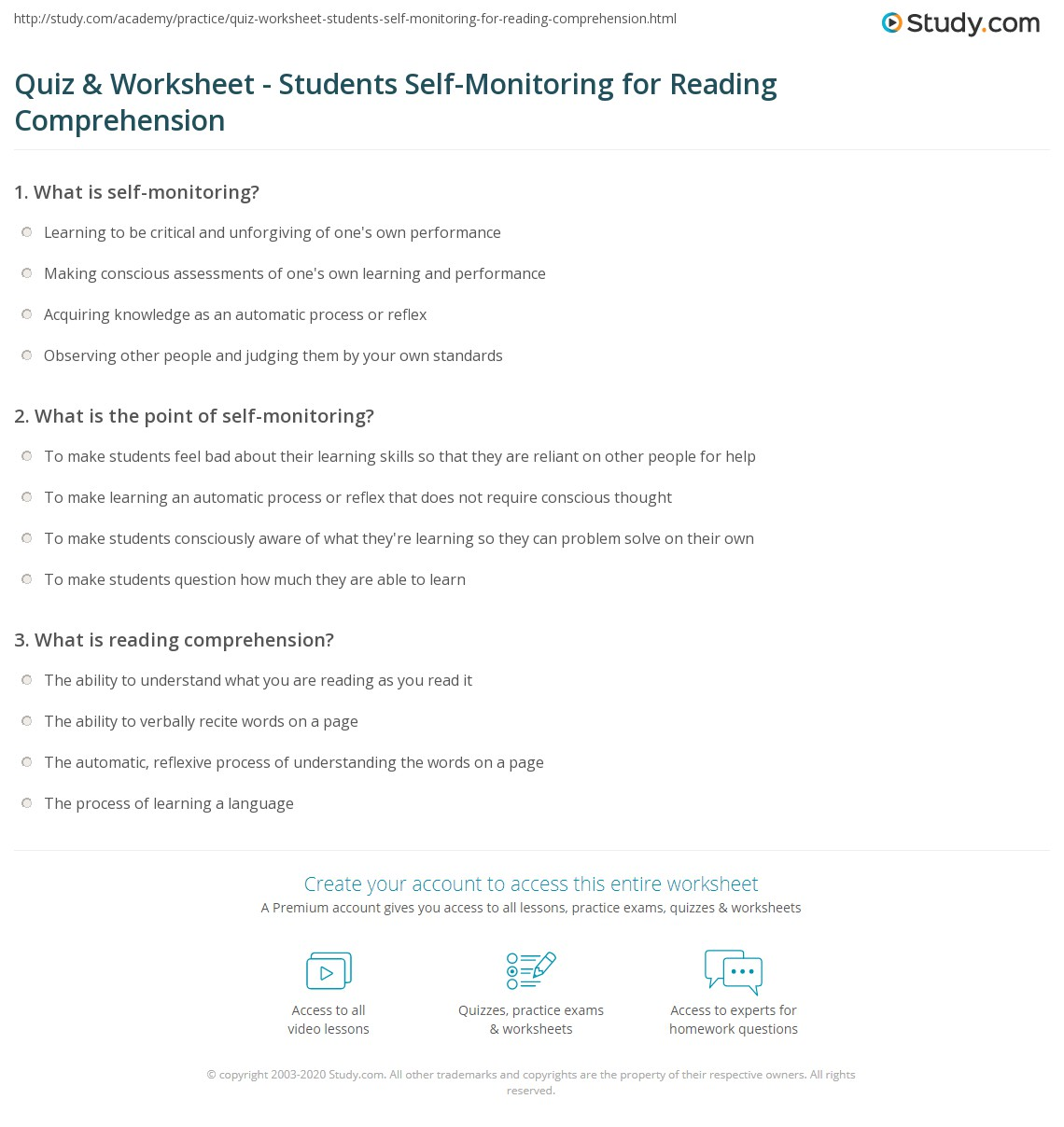 Quiz Worksheet Students SelfMonitoring for Reading – Reading Skills Worksheets