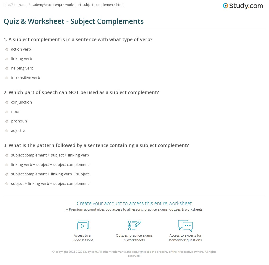 Quiz & Worksheet - Subject Complements | Study.com