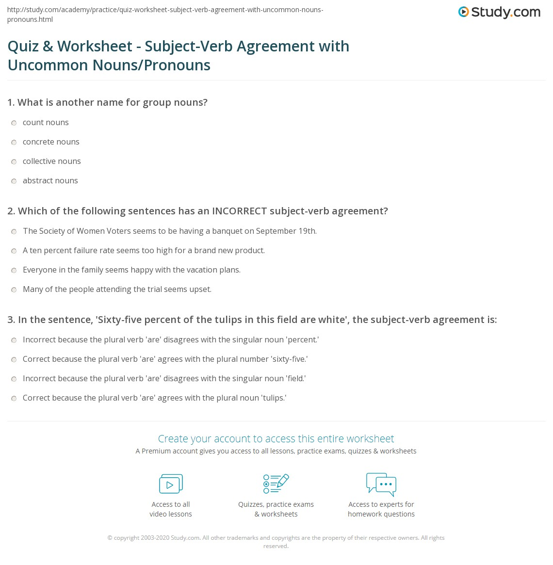 Quiz & Worksheet - Subject-Verb Agreement with Uncommon Nouns  education, multiplication, alphabet worksheets, and grade worksheets Noun And Pronoun Worksheets For Middle School 1388 x 1140