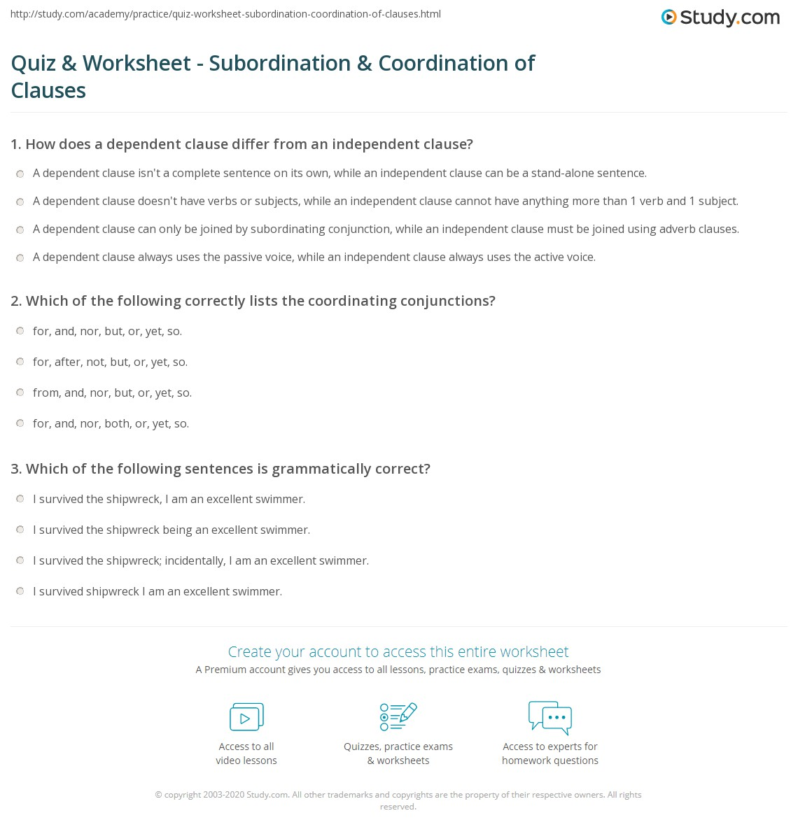 Quiz Worksheet Subordination Coordination of Clauses – Independent and Dependent Clauses Worksheets