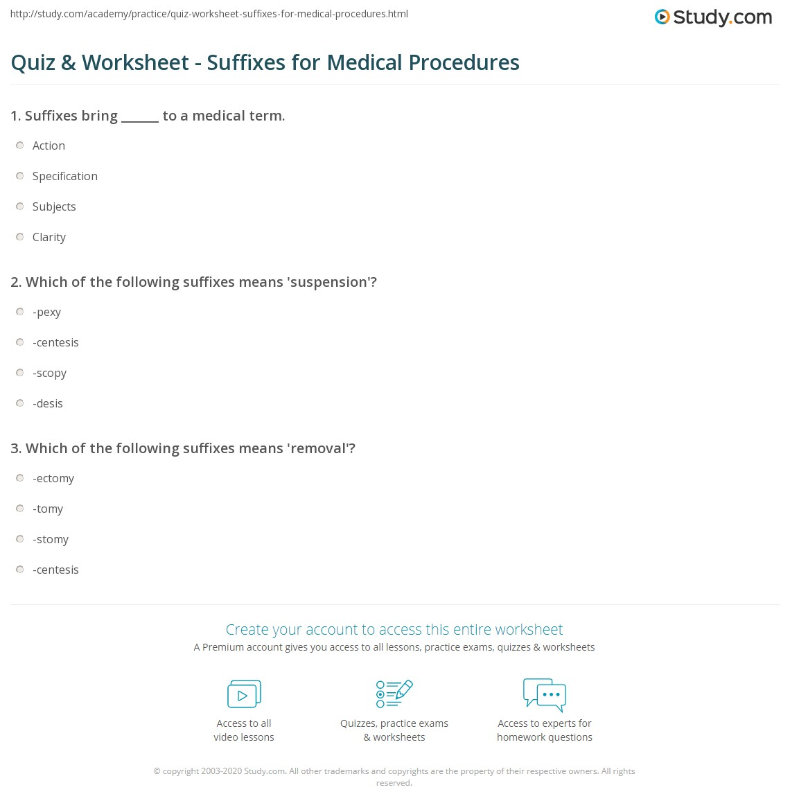 Quiz Worksheet Suffixes for Medical Procedures – Suffixes Worksheet