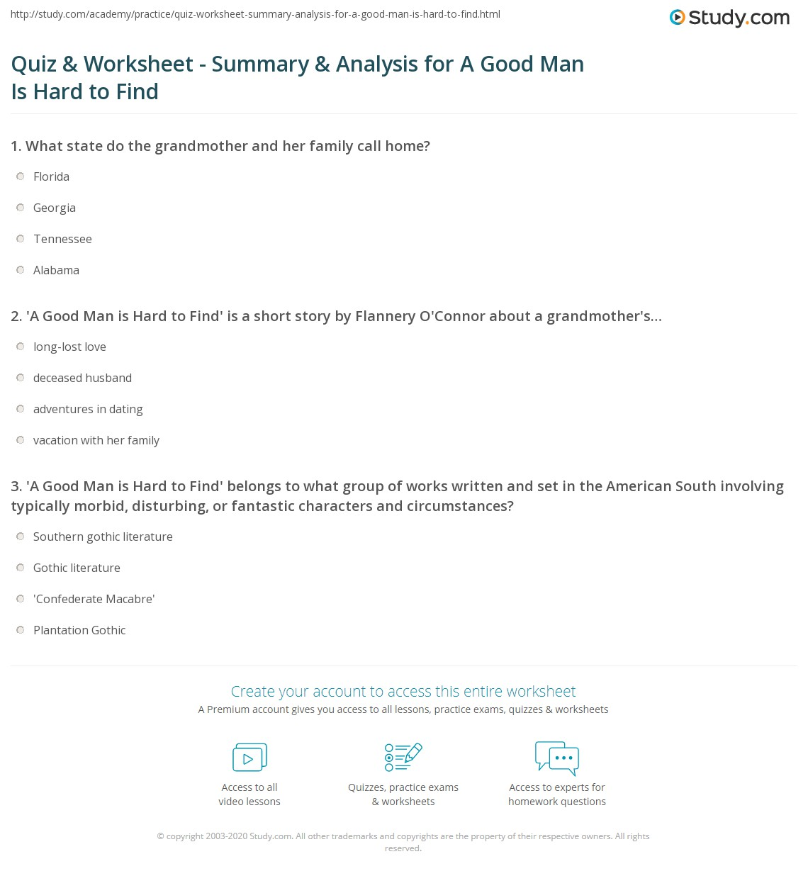 quiz worksheet summary analysis for a good man is hard to print a good man is hard to by flannery o connor summary analysis worksheet