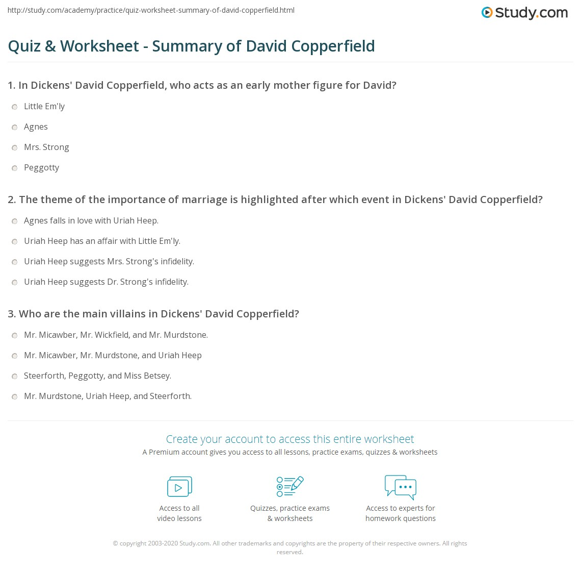 writer of david copperfield david copperfield by charles dickens  quiz worksheet summary of david copperfield com print david copperfield dickens bildungsr worksheet