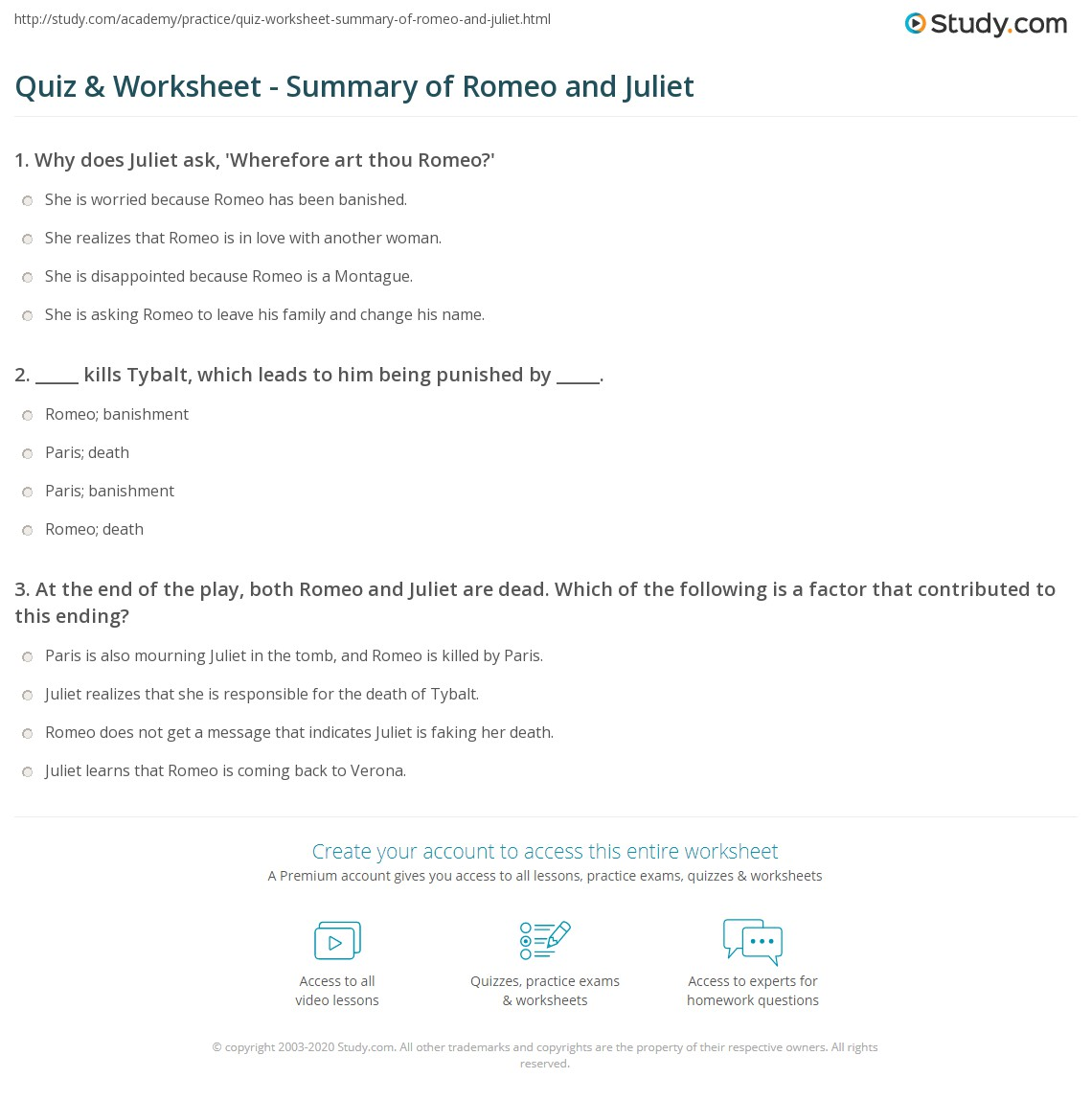 quiz worksheet summary of romeo and juliet com print romeo and juliet shakespeare s famous star crossed lovers worksheet
