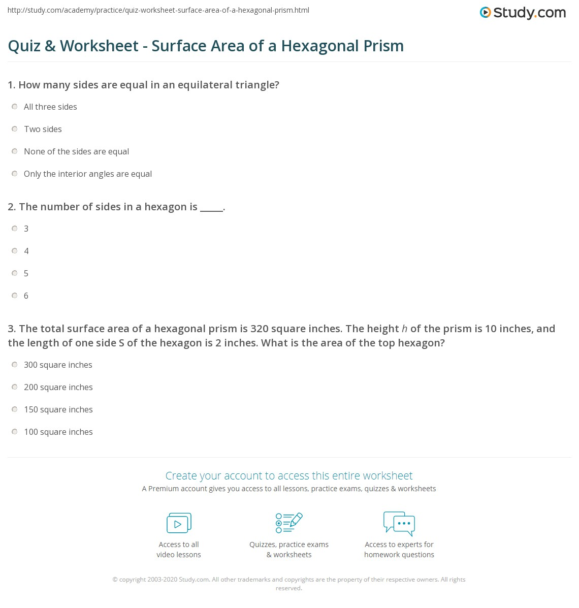 Worksheet Surface Area Of A Hexagonal Prism Quiz Worksheet Surface Area Of  A Hexagonal Prism Study How To Find