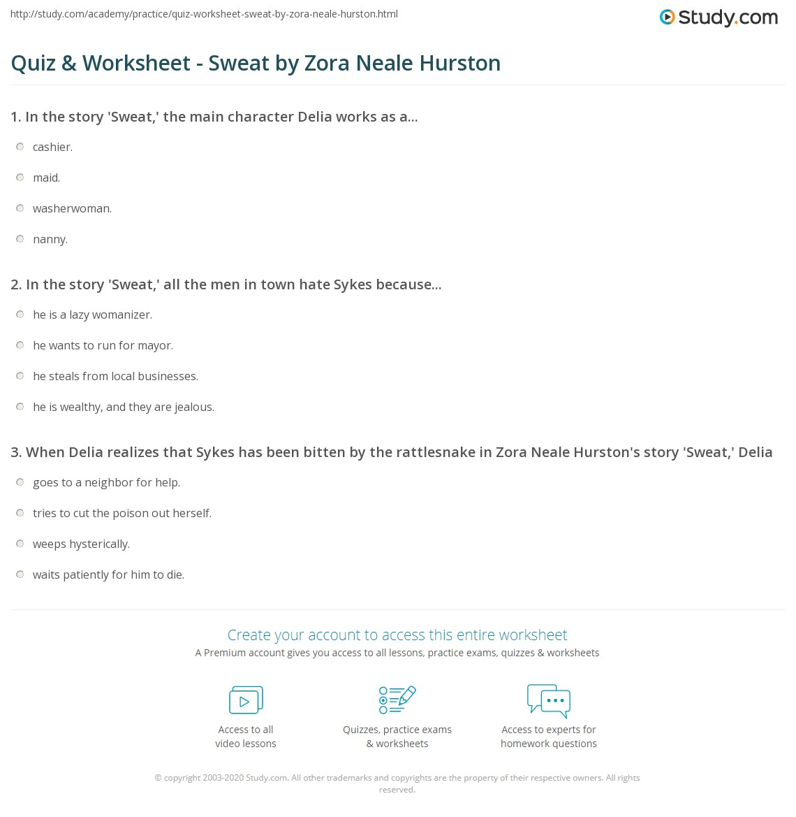 quiz worksheet sweat by zora neale hurston com print sweat by zora neale hurston summary analysis worksheet