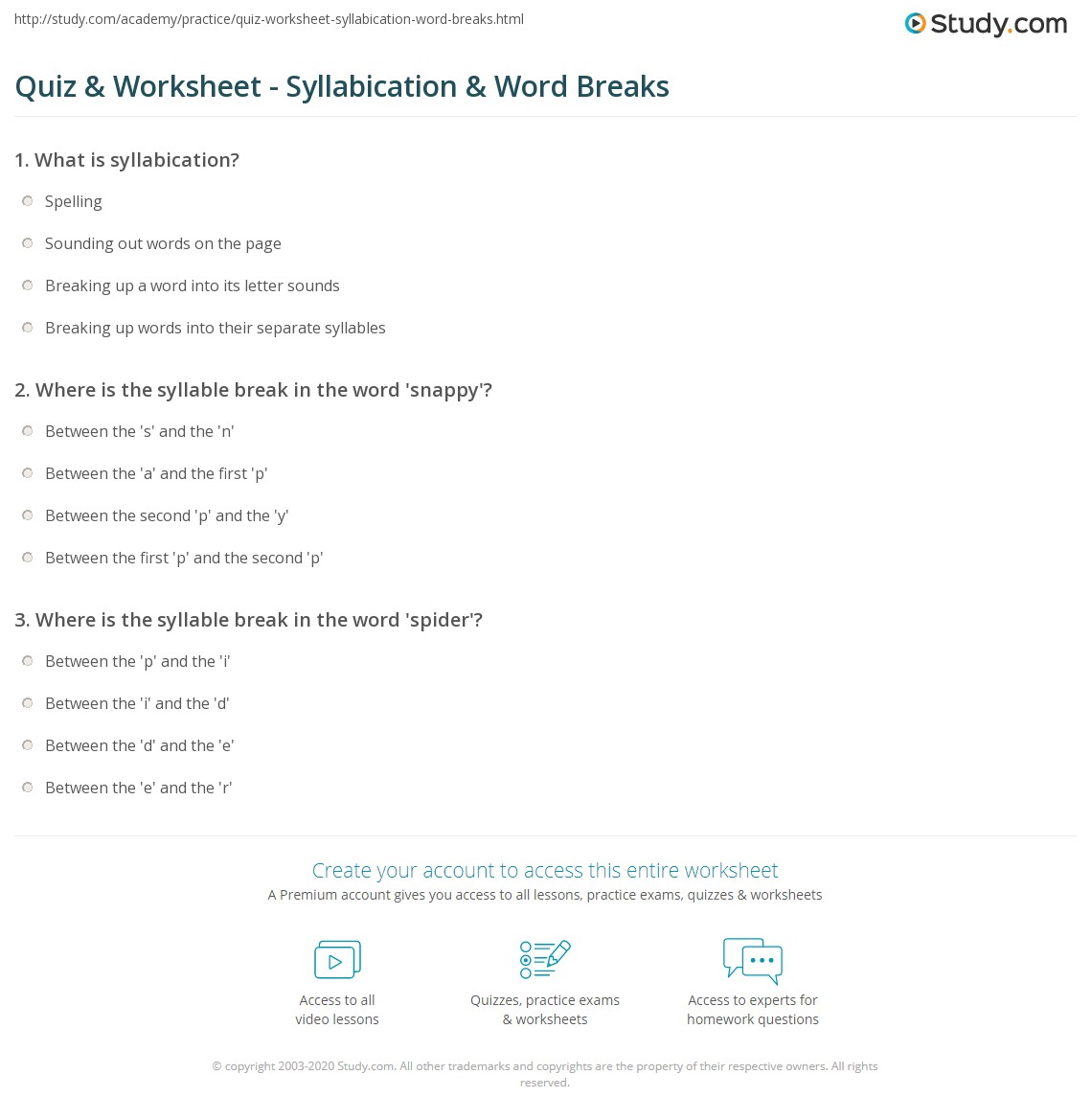 Quiz Worksheet Syllabication Word Breaks – Syllabication Worksheets