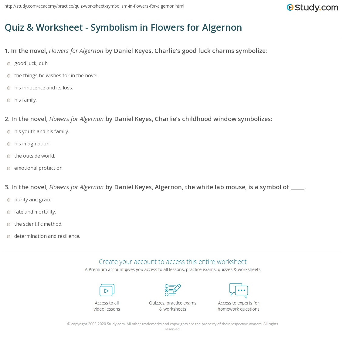 quiz worksheet symbolism in flowers for algernon com print flowers for algernon symbols worksheet