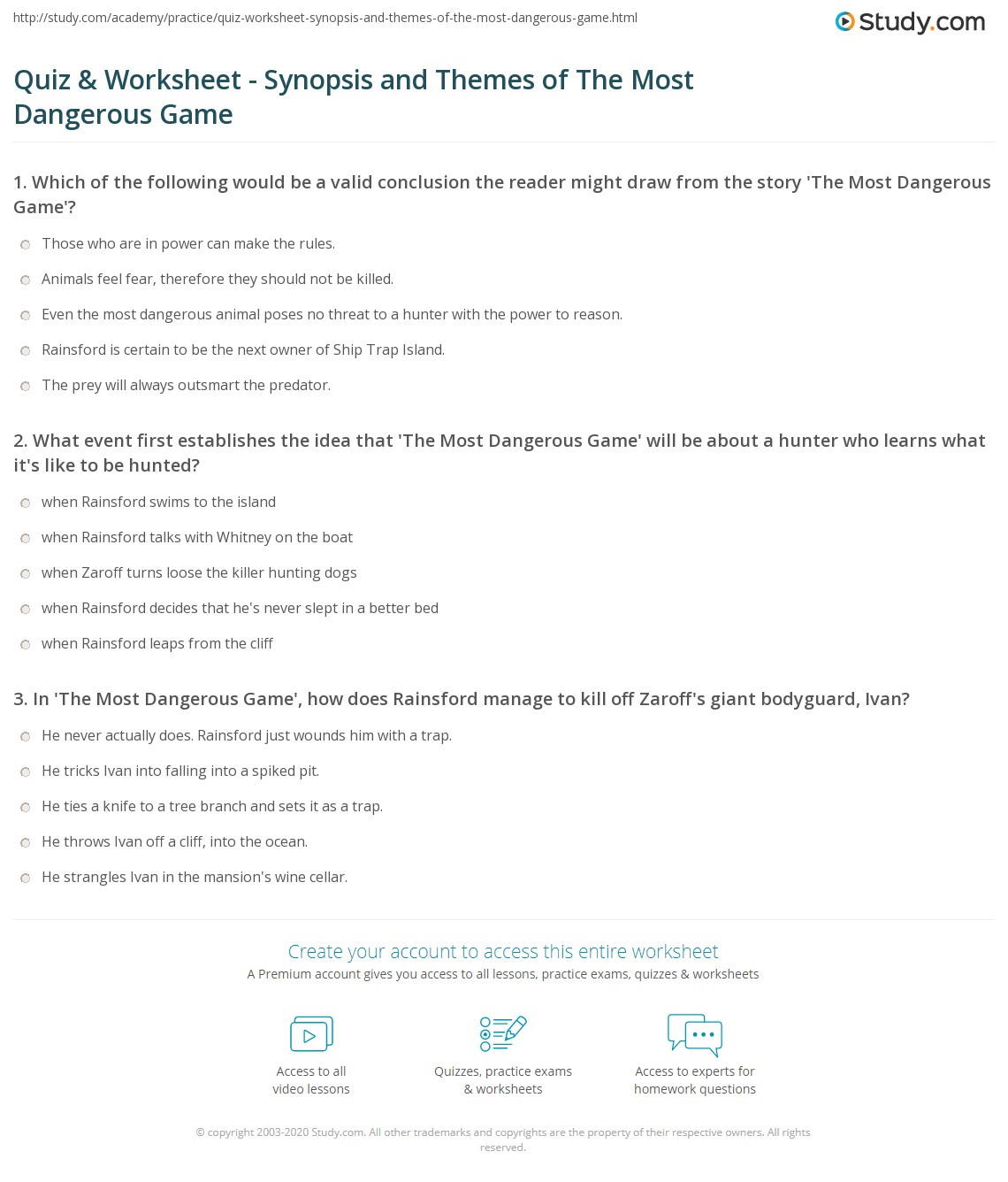 quiz worksheet synopsis and themes of the most dangerous game print the most dangerous game summary and themes worksheet
