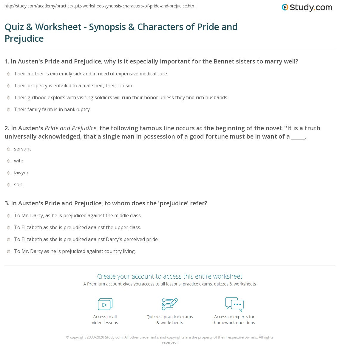 Quiz Worksheet Synopsis Characters of Pride and Prejudice – Character Analysis Worksheets