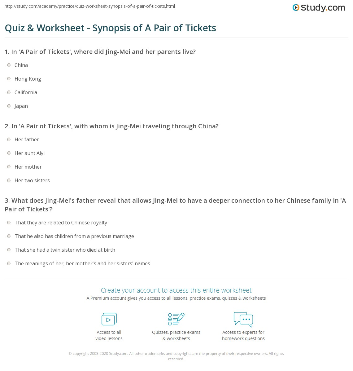 quiz worksheet synopsis of a pair of tickets com print amy tan s a pair of tickets summary analysis worksheet
