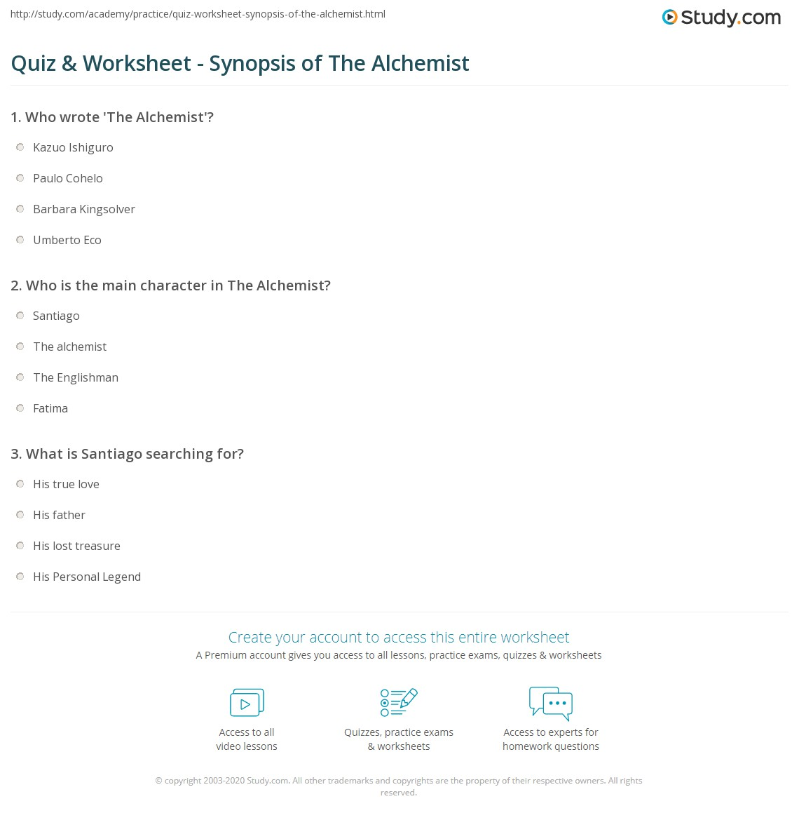 quiz worksheet synopsis of the alchemist com who is the main character in the alchemist