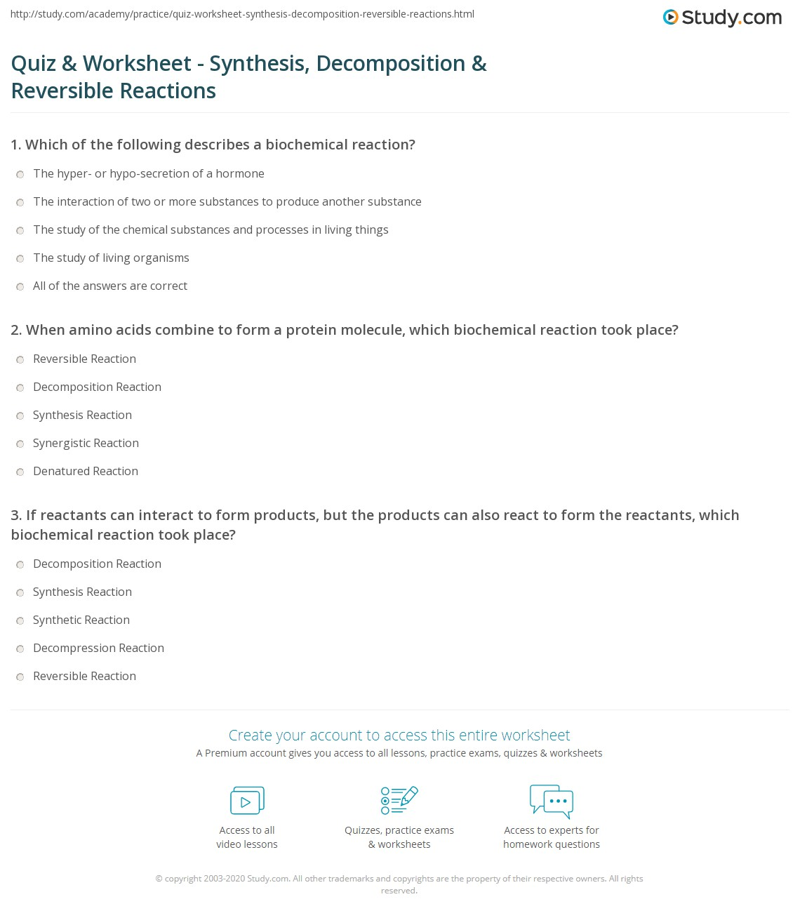 Quiz Worksheet Synthesis Decomposition Reversible Reactions – Biochemistry Worksheet