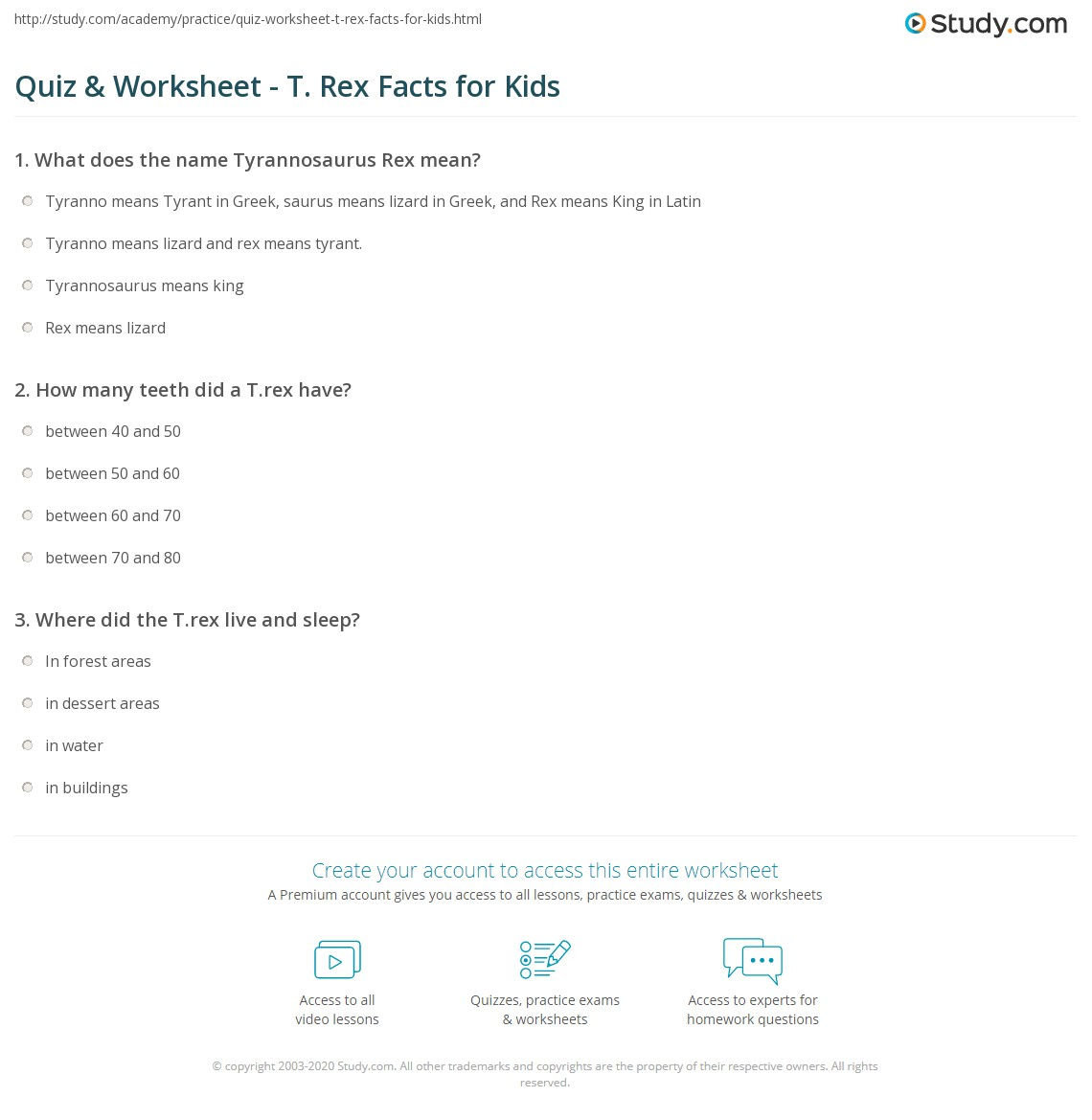 quiz-worksheet-t-rex-facts-for-kids
