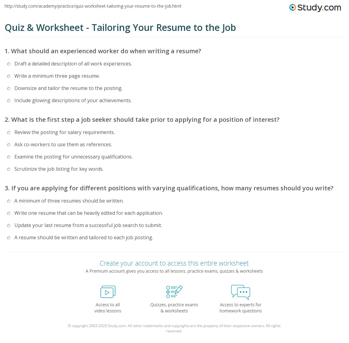 quiz worksheet tailoring your resume to the job study com print tailoring the content of your resume for a job worksheet