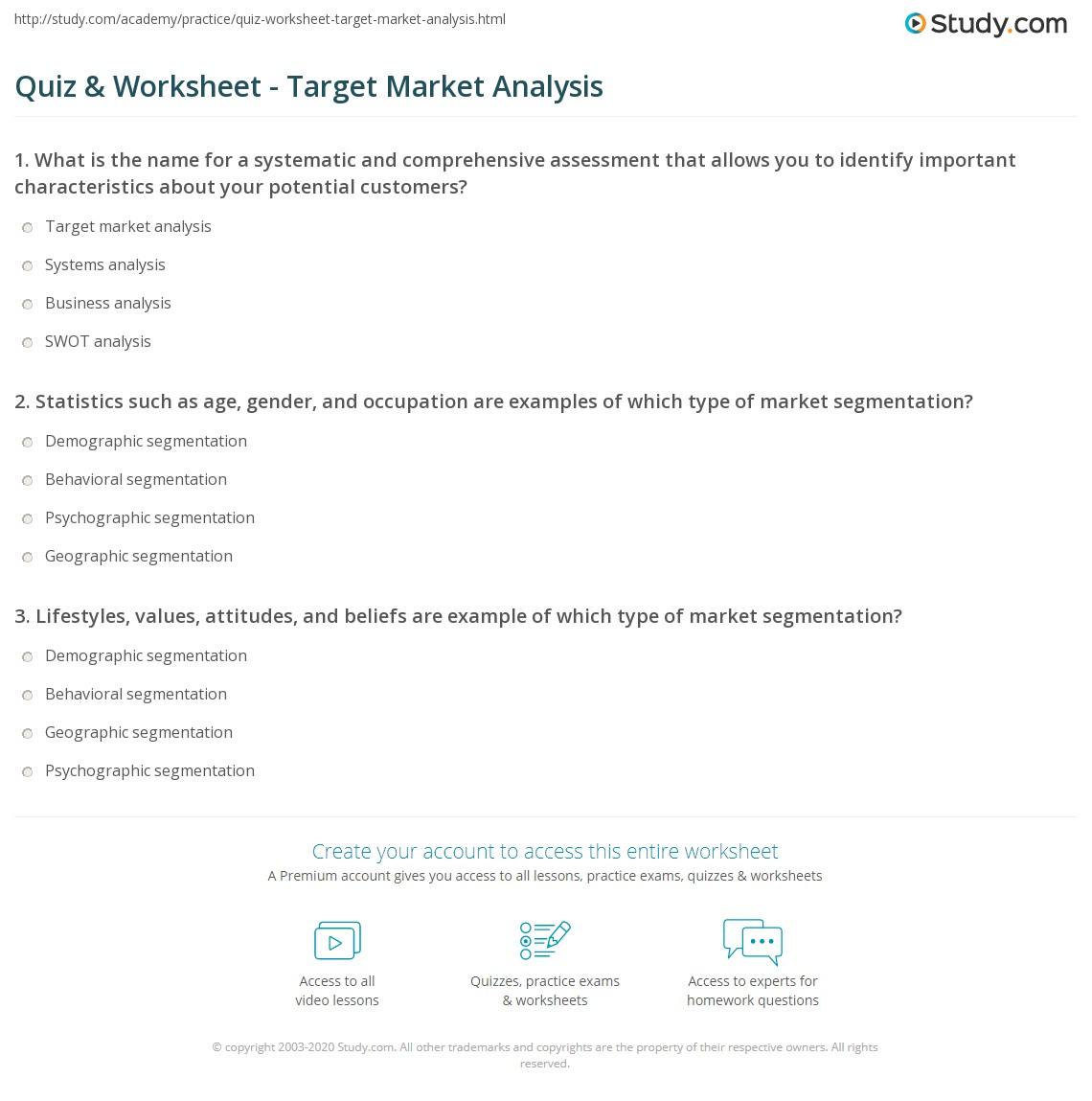 Quiz & Worksheet - Target Market Analysis | Study.com