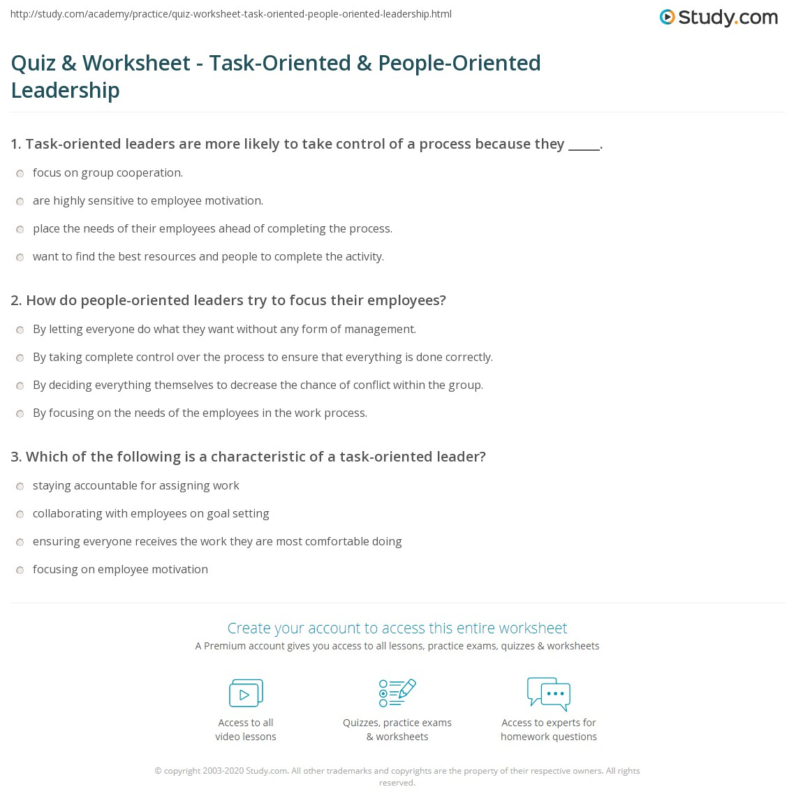 quiz worksheet task oriented people oriented leadership teamwork collaboration group decision making trust and cohesion describe which type of leader