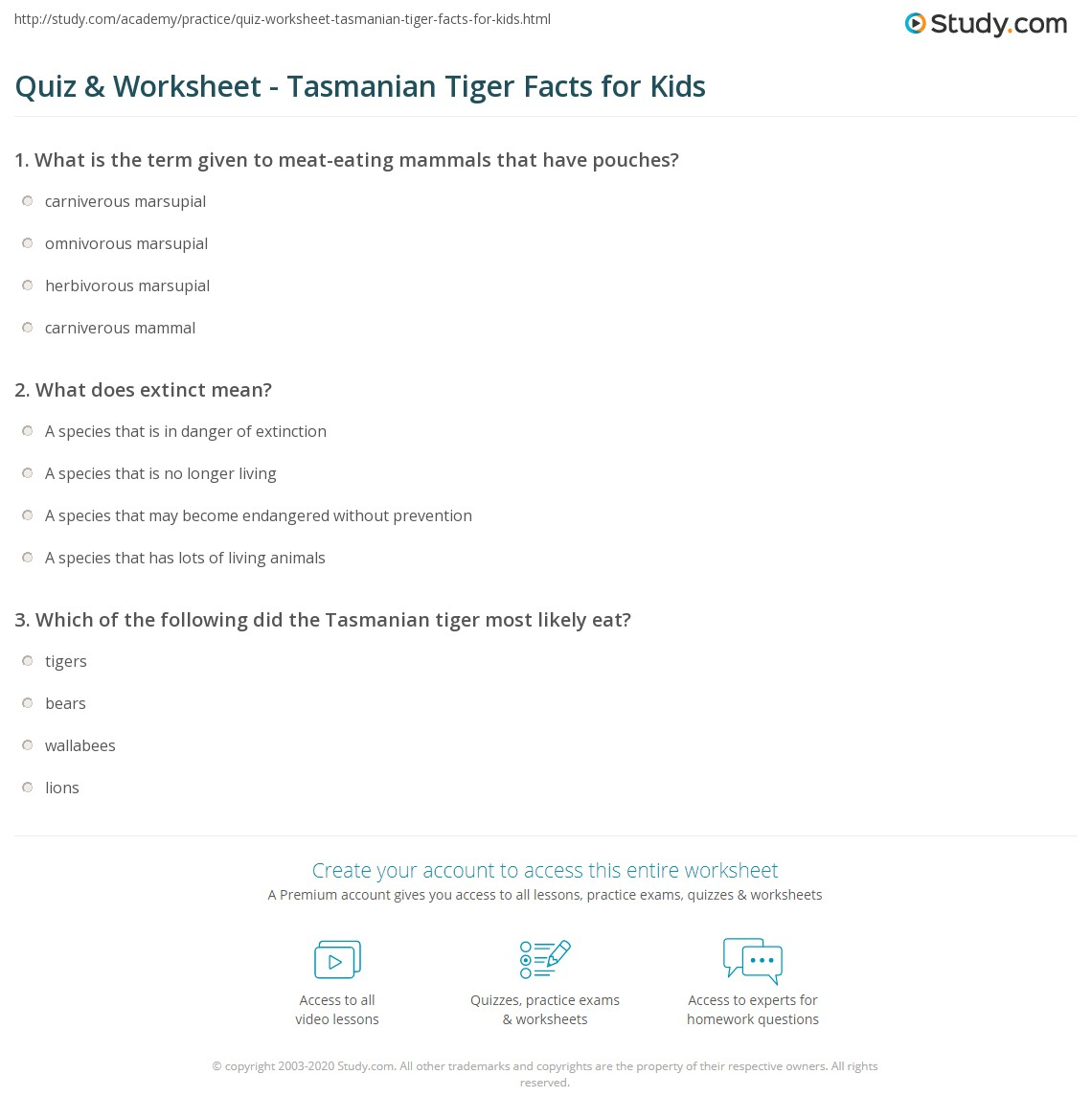 quiz u0026 worksheet tasmanian tiger facts for kids study com